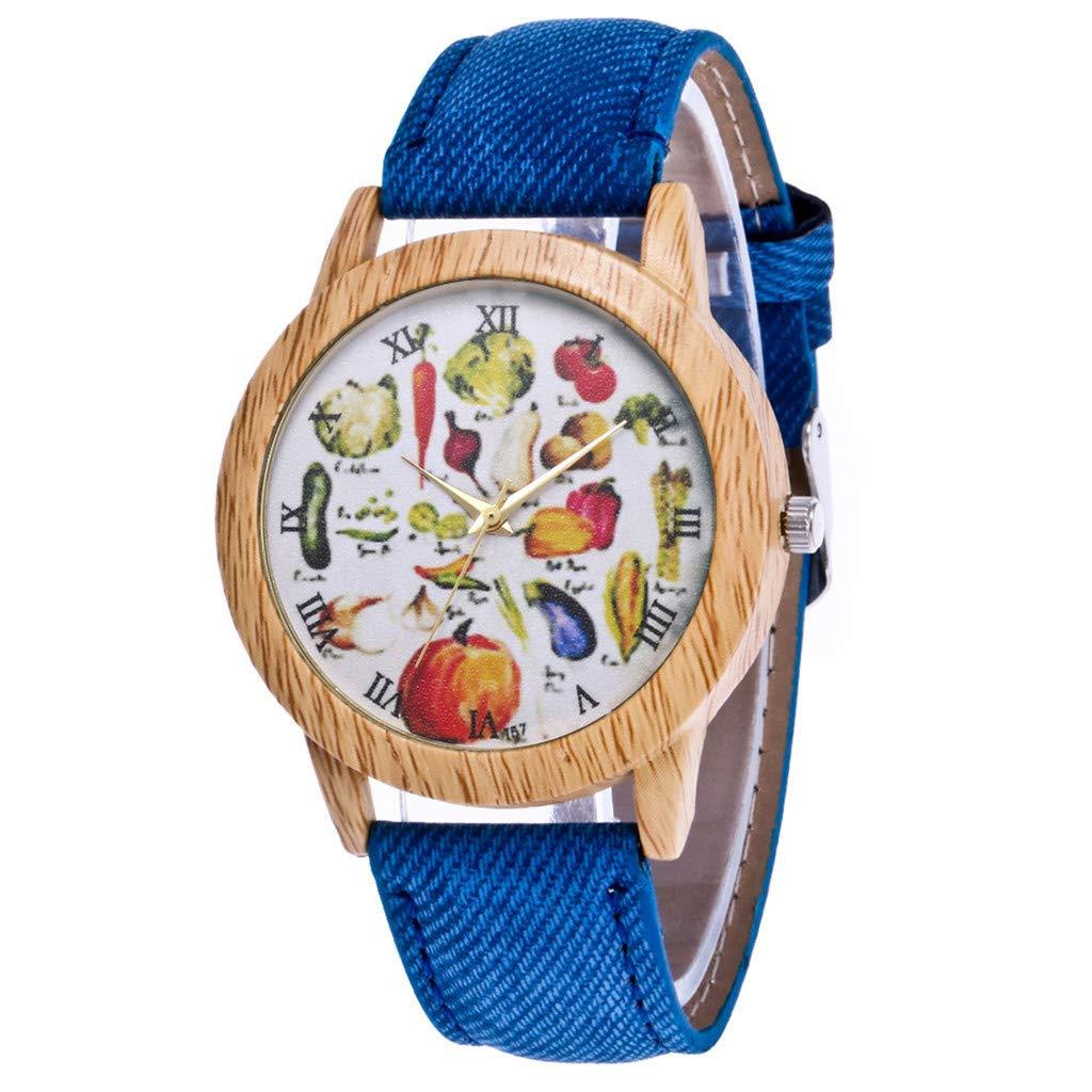 Girls' Wrist Watches,Women's Fashion Casual Leather Strap Analog Quartz Round Watch,Blue