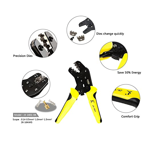 PARON Professional Wire Crimpers Engineering Ratchet Terminal Crimping Pliers JX-48B 3.96 to 6.3mm 26-16AWG Crimper 0.14-1.5mm² for Dupont - - Amazon.com