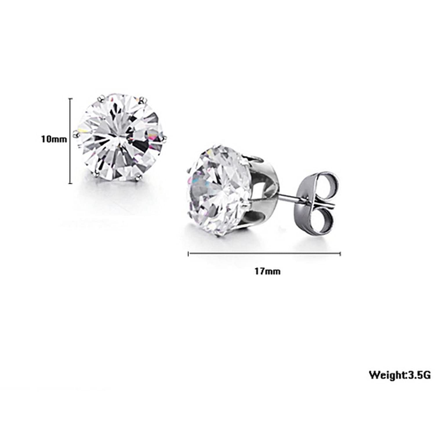 Aokarry Jewelry Womens Stainless Steel Round Clear Cubic Zirconia Stud Earring White