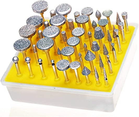 50 x Diamond coated rotary SMALL head burr point grinding jewelry tools GRIT 300