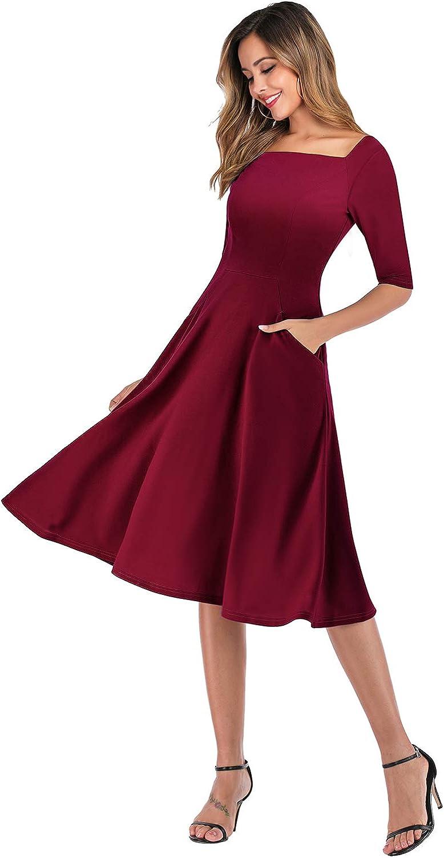 Gardenwed Damen Kleid 1950er Vintage Rockabilly Faltenrock Kleider mit Taschen Midi Cocktailkleid Abendkleider