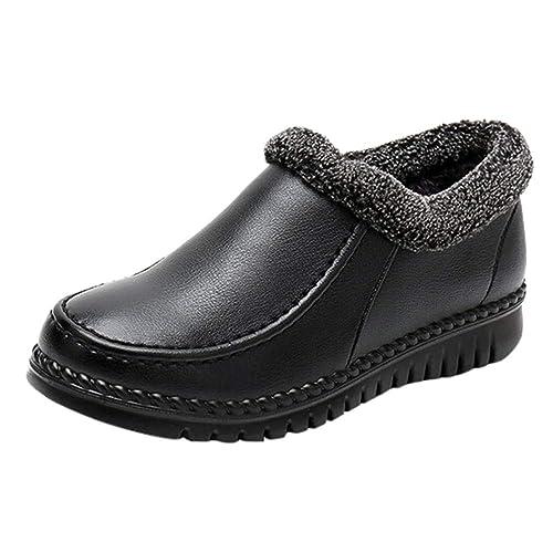 Botines de Nieve Plataforma cuña Mujer Invierno PAOLIAN Botas Tobillo bajo Forradas Piel Calentar Suela Blanda Zapatos Cuero Señora Cómodo Calientes ...