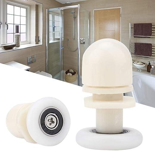 Duokon 8 unids Rueda de plástico Puerta corredera Guía de riel Rueda Rodillo Armario Duradero Puerta corrediza Rodillo Engranaje Panel de Pista Kit Interno para Puerta de Vidrio de baño (20 mm):