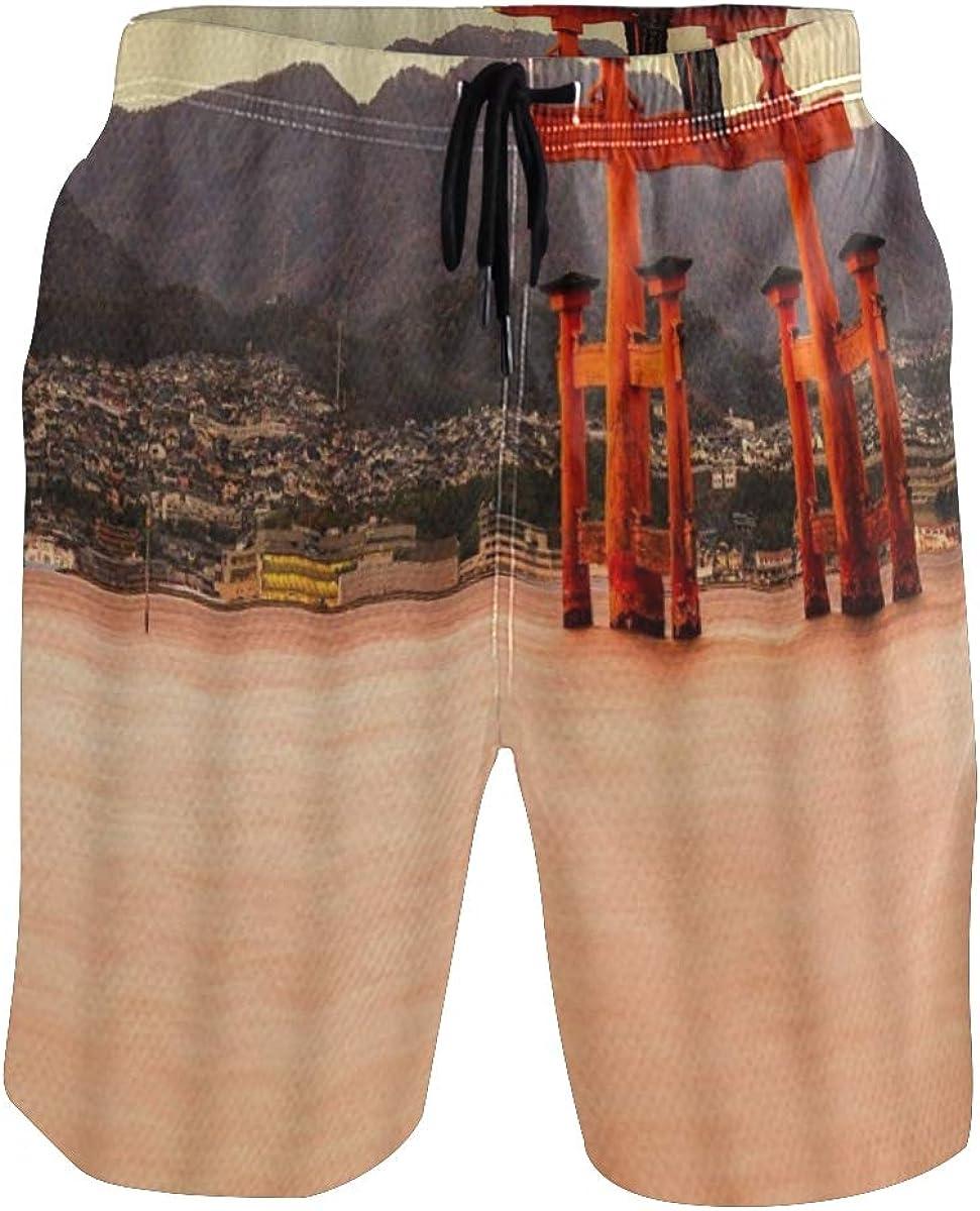 LISNIANY Bañador Hombre,Impresión Digital del árbol de Amor,Natación Secado Rápido Malla Pantalones Imprimiendo Cortos(S)