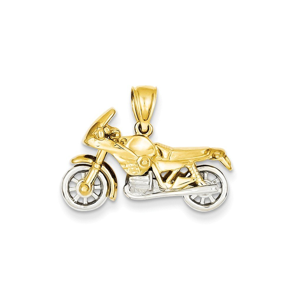 14k Two-tone 3-D Motorcycle Pendant, 14 kt Yellow Gold