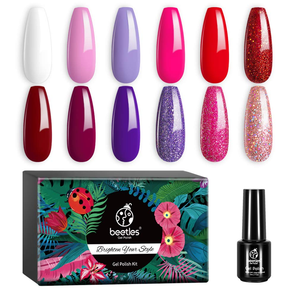 Beetles Gel Nail Polish Kit, 12 Pcs Colors Set Love Bug Gift Kit Soak Off UV LED Nail Gel Polish Red Pink Purple Nail Polish for DIY at Home Nail Art Salon Gel Polish Gift Starter Kit