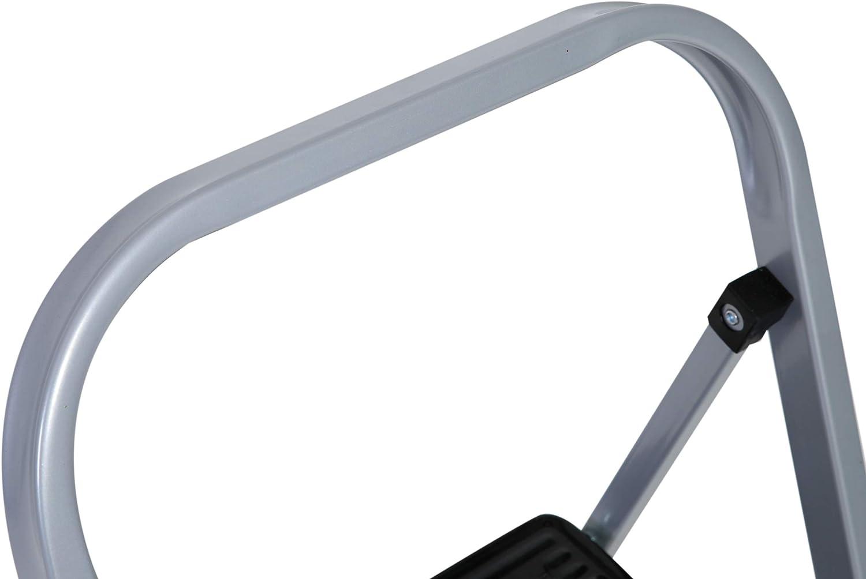axentia Trittleiter 2 Stufen klappbar Klapptritt aus Metall mit Halteb/ügel und gro/ßen Stufen Klapptreppe bis 150 kg silberfarben // schwarz
