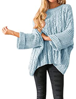 cbf2a3ae89 Womens Pullover Sweaters Plus Size Cable Knit Crew Neck Long Sleeve Split  Side Tie Knot Fall ...
