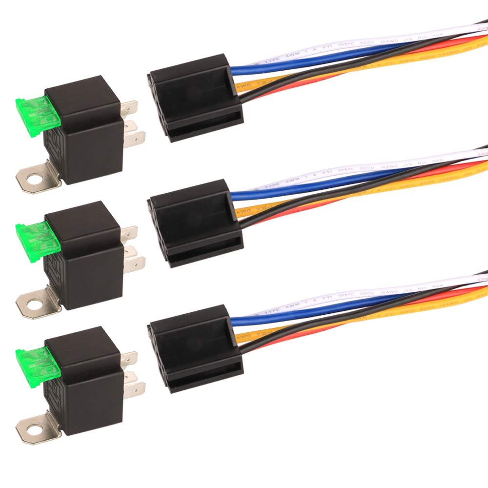 Gebildet 3 St/ück 12V Sicherungsrelais 30A ATO//ATC Flachsicherung mit Kabelbaumsatz 5-polige SPDT Relais f/ür den Automobilbereich mit 14 AWG Hochleistungskabeln