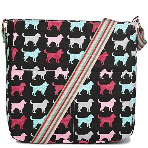 Miss Lulu Canvas Dog Cat Print Cross Body Messenger Bag (Dog Black)