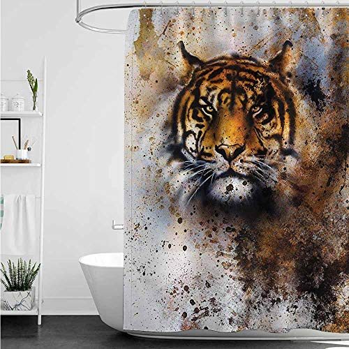 (home1love Shower Curtain,Tiger Wild Beast Looking Straight into The Eyes of The Viewer Angry Looking Panthera Tigris,Bathroom Decoration,W72x84L,Multicolor)