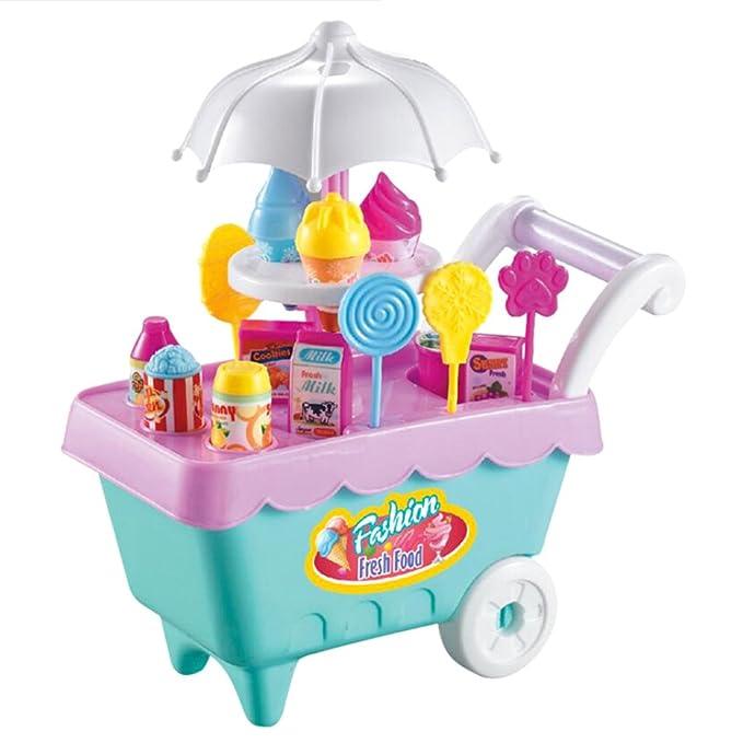 Baoblaze Juguete de Simulación Carrito de Helados Heladería Multicolor Plástico Juego de Imaginación para Niños Niñas: Amazon.es: Juguetes y juegos