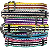 "Blueberry Pet Summer Collars 1"" L 3M Reflective Multi-colored Stripe Olive and Blue-gray Dog Collar for Large Dogs, Matching Harness Available Separately"