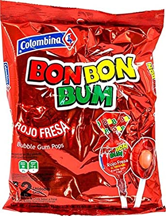 Colombina Bon Bon Bum Bubble Gum Pops Strawberry (Pack of 24)