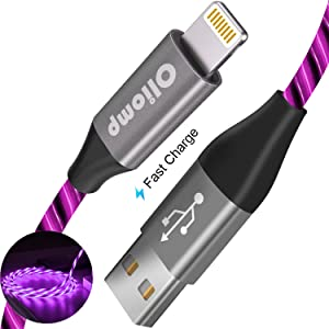 iPhone Charger Cable, Oliomp (Apple MFi Certified) 6ft LED Light Up Visible Flowing Lightning Cable iPhone Charging Cord for Apple iPhone 11 Pro Max XS XR X 8 7 6S 6 Plus SE 5S 5C 5 iPad (3ft, Purple)