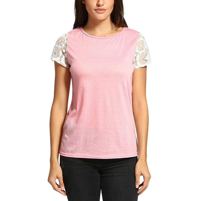 ASHOP Camisetas Muje, Camisetas Manga Corta EN Oferta Suelto Tops Blusas de Mujer Elegantes de Fiesta Baratas Patchwork de Encaje Sólido T-Shirt Moda 2018: ...