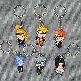 Naruto Uzumaki Sasuke Kakashi 4 cm Action Figures Pvc Toys Keychain 6 Pcs/set