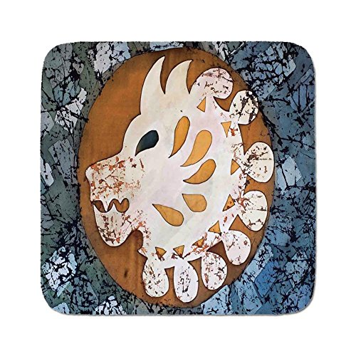 - Cozy Seat Protector Pads Cushion Area Rug,Batik Decor,Grungy Wolf Visage Head in a Rounded Full Moon Form Night Knight Esoteric Image,Multi,Easy to Use on Any Surface