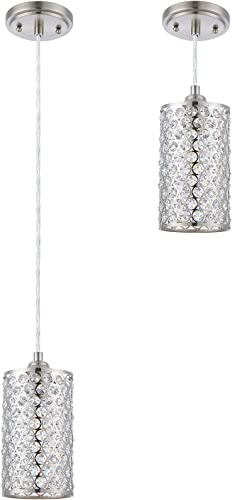 Doraimi 1 Light Crystal Pendant Lighting with Brushed Nickel Finish, Modern Style Ceiling Light Fixture with Polyhedral Crystal Shade for Foyer Dining Room Family Room, LED Bulb not Include