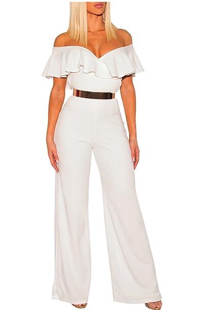 67ee688bc4e3 Amazon.com  Women Ruffle Off Shoulder Solid Jumpsuits Wide Leg Long Romper  Pants Without Belt  Clothing