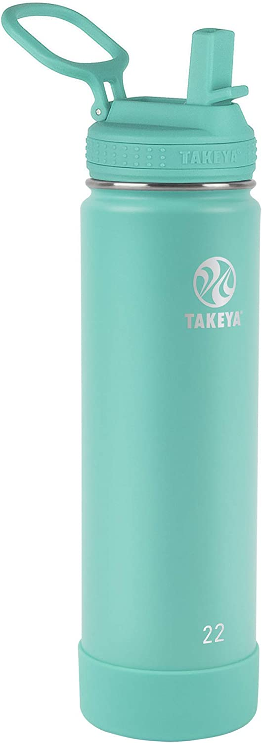 Takeya Actives Insulated Water Bottle w/Straw Lid, Teal, 22 Ounce