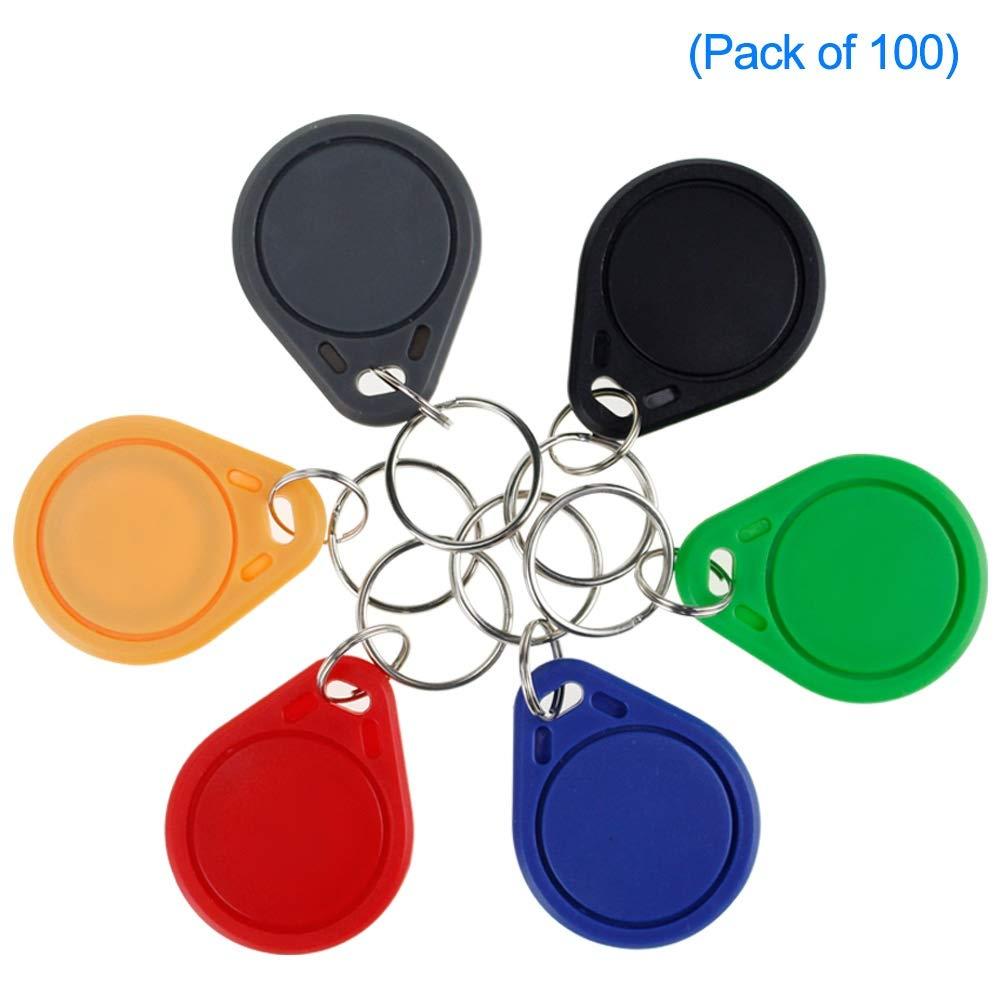 LIBO RFID Llaveros Tarjeta llave inteligente NFC RFID Control de Acceso Keyfobs Proximidad 13.56 MHz MF Classic 1k IC S50 Token Solo lectura 100, Gris