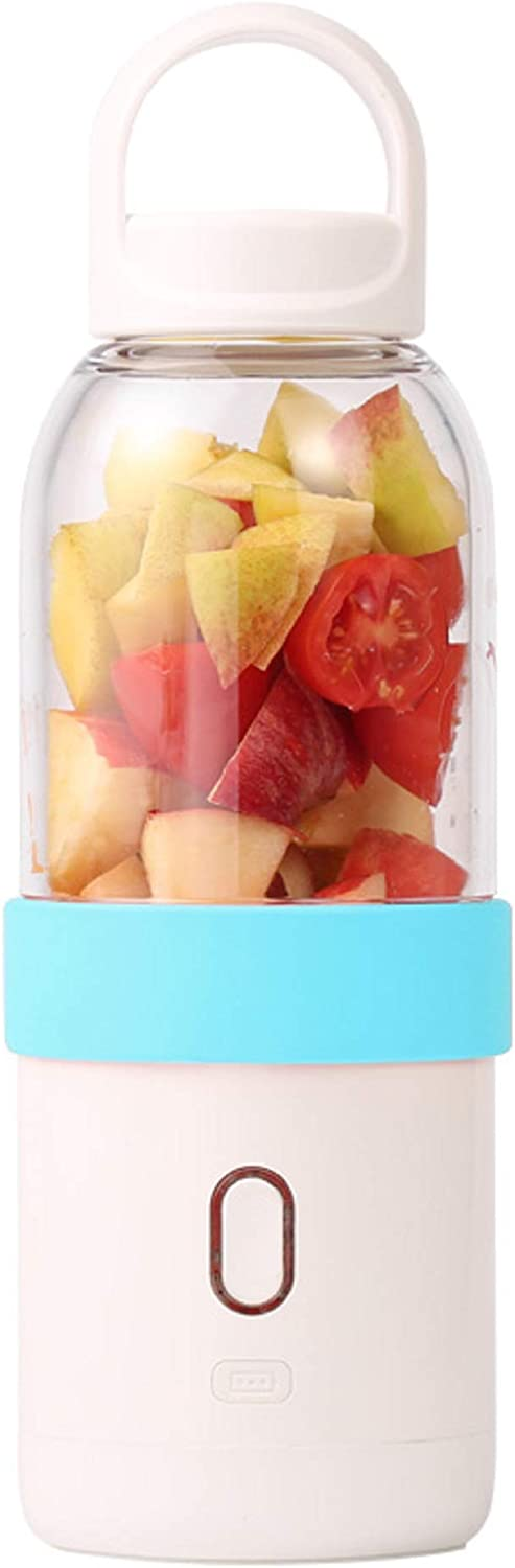 Cliusnra Personal Portable Smoothies Blender: Shakes USB Cup Rechargeable Travel Ice Blue Fruit Operated Food 550 ml Blade Battery Electric Juicer Crush Protein Cordless Mini Bottle