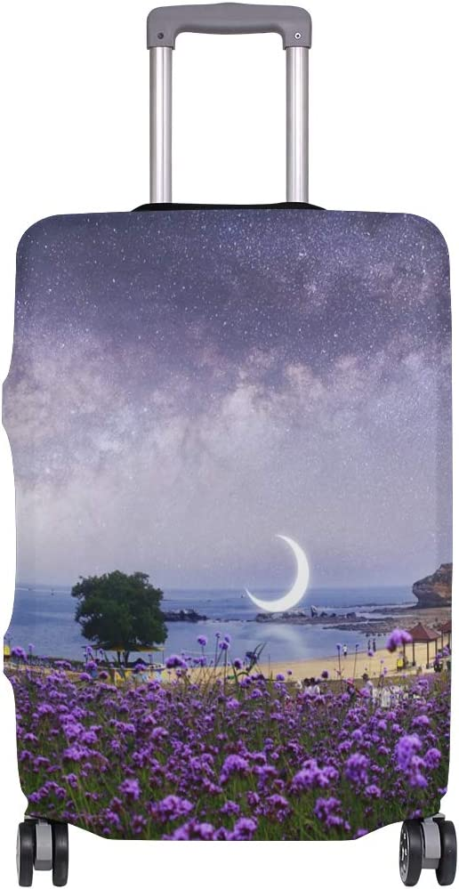 Baggage Covers Romantic Purple Flower Beach Sunset Washable Protective Case