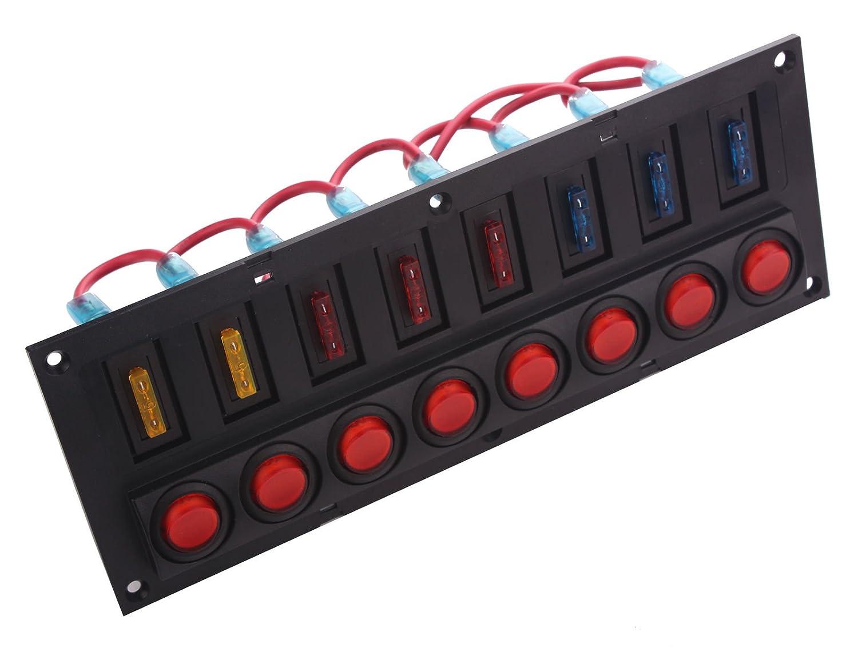 Amazon.com : DC 12V 8 Gang LED Indicator Boat Rocker Switch Panel Inbuilt  Auto Fuse for Boat : Sports & Outdoors