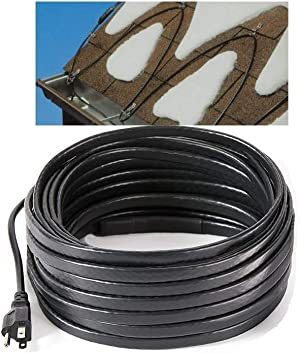 H&G lifestyles Roof Snow De-Icing Kit Self-Regulating-Plug-in Ready Heat Cable 80 feet 8 Watts Per Foot