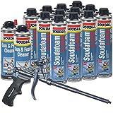 Soudal Kit, 12 Cans All Season Window & Door Foam, AWF Pro Teflon Coated Foam Gun, 2 Gun & Foam Cleaners