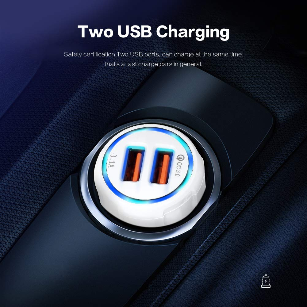 30W Yooh CC-2K Power Bank Tablet PC Digital Camera and More USB Devices for Smartphones QC 3.0 Car Charger -Dual USB Ports Qualcomn Quick Charge 3.0 Car Charger GPS Black