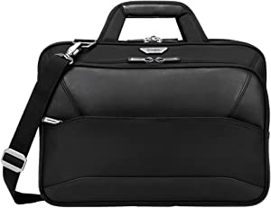 Targus Mobile-VIP Topload Shoulder Bag with Checkpoint-Friendly TSA Screening, Weather Resistant, Dual Main Compartments, Trolley Strap, SafePort Drop Protection for 15.6-Inch Laptop, Black (TBT264)