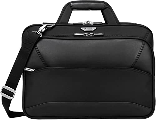 Targus Mobile-VIP Topload Shoulder Bag with Checkpoint-Friendly TSA Screening, Weather Resistant, Dual Main Compartments, Trolley Strap, SafePort Drop Protection for 15.6-Inch Laptop, Black TBT264