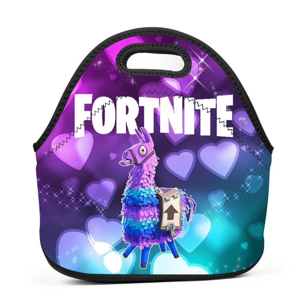 YUSMO Fortnite Pinata Llama Neoprene Lunch Bag Thick Insulated Thermal Lunch Tote Waterproof Outdoor Travel Picnic Carry Case Lunchbox Handbags with Zipper for Womens Boys Girls and Mens PAOV-BDY-LLN