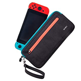 Nintendo Switch Carry Case, Lightweight Protective Canvas Pouch Portable Travel Case Bag for Nintendo Switch Console & Accessories with 5 Card Slots & Handle Strap (Black)