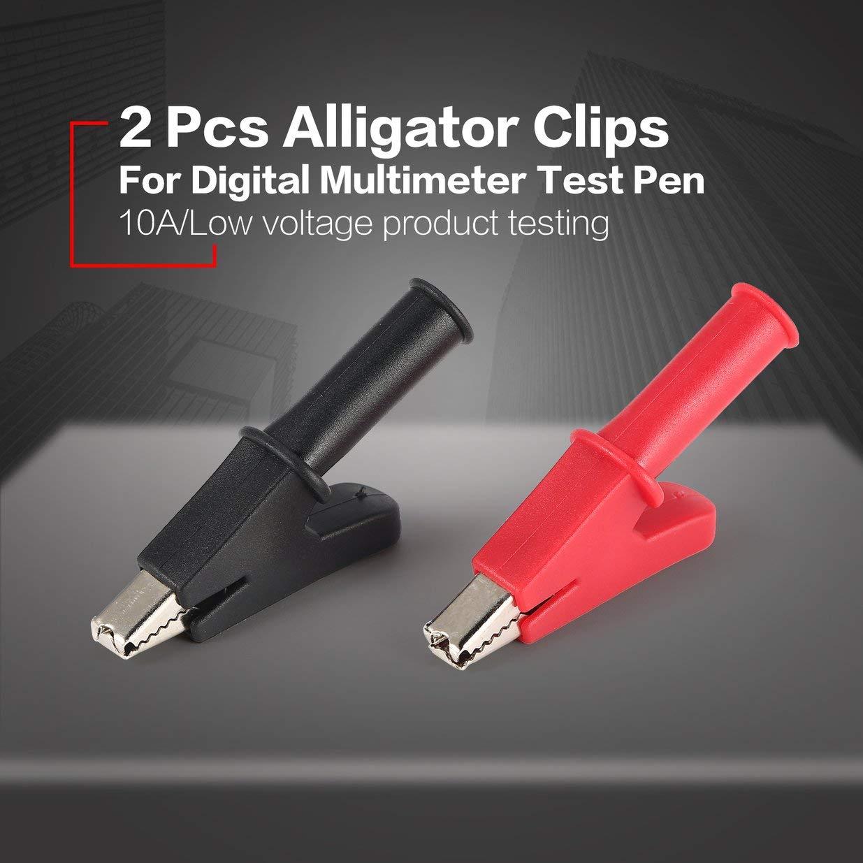 2 pinzas cocodrilo PC completa protecci/ón cocodrilo Pinza el/éctrica para la prueba del mult/ímetro de puntas de prueba pluma cable de la sonda
