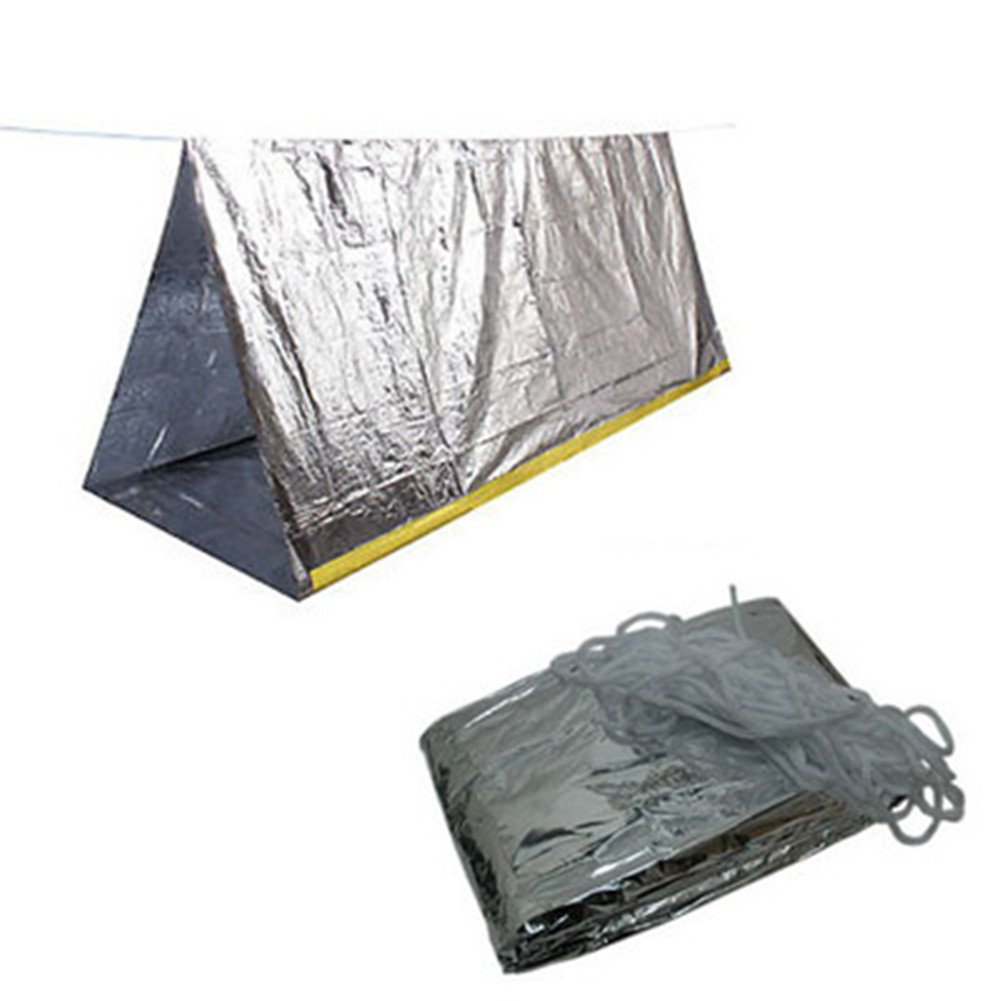 Emergency Mylar Thermal Shelter Tent - 98' X 39'Reflective Conserves Heat Retention for Backpacking - Camping - Hiking - Survival Gear Monvecle