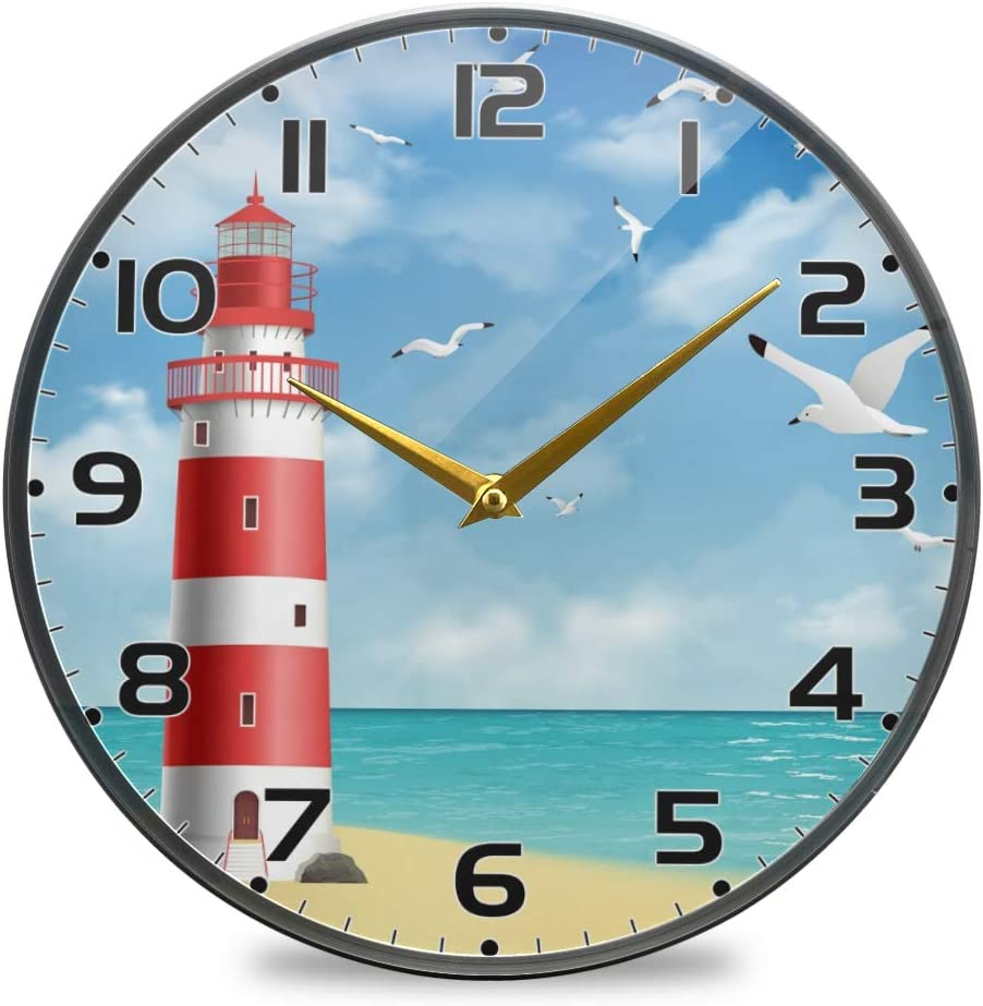 Moudou Lighthouse Wall Clock Silent Non Ticking Round Acrylic Clock for Bathroom Living Room Bedroom Office School Home Decoration 10 Inch