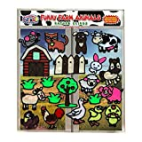 Funny Farm Animal Flexible Gel Clings – CPSC Certified Safe Window Clings for Kids and Toddlers – Removable Reusable Gel Decals for Home, Travel or Classrooms – Rooster, Chicks, Pig, Cow and More