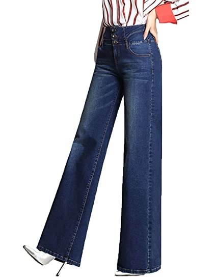 77b3e7017f MLM0 Womens Jeans Bootcut Casual High Waisted Simply Bell Bottom Hippy  Flares Pants Denim: Amazon.co.uk: Clothing