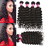 Malaysian Virgin Hair Deep Wave Weave African American Hair Extensions Pack of 3 Bundles (18 20 22inches) Total Weight of 10.58oz Full Head Natural Black Color Can be Dyed