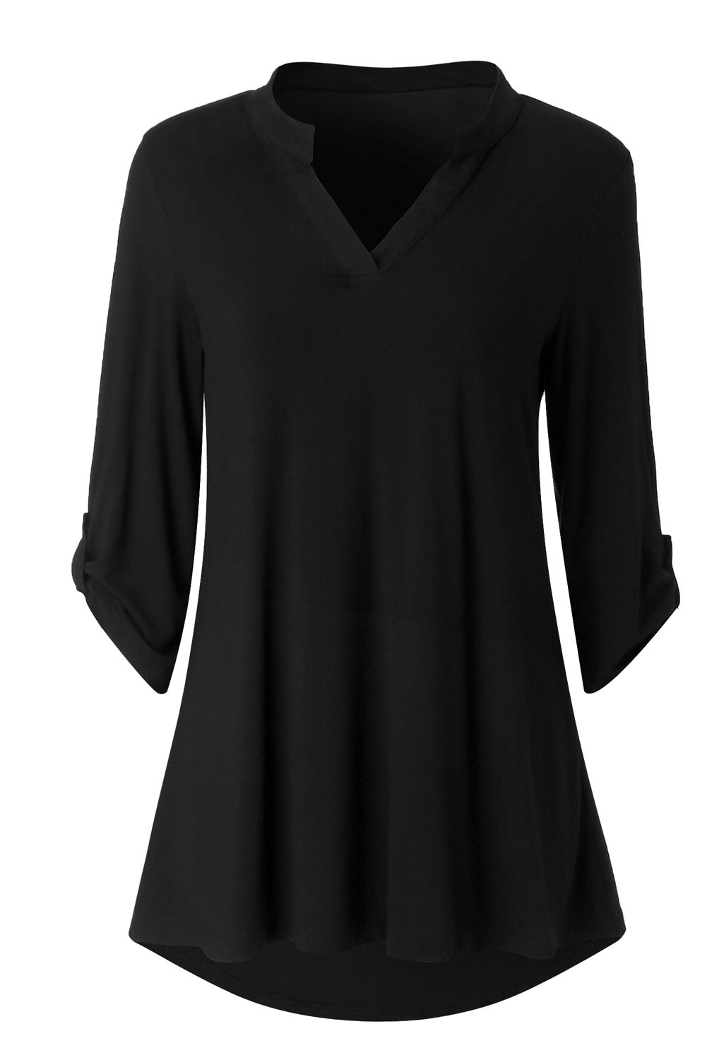 Zattcas Womens Floral Printed Tunic Shirts 3/4 Roll Sleeve Notch Neck Tunic Top,Solid Black,X-Large by Zattcas