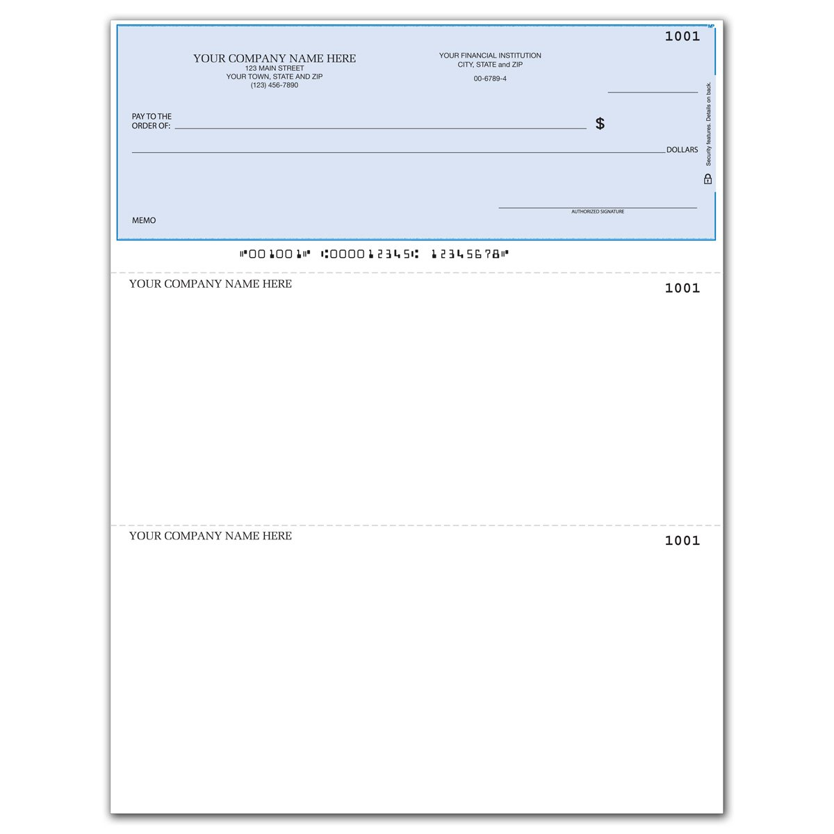 Laser Business Checks, Compatible with QuickBooks/Quicken - Top Format, Lined (2000 qty) - Custom