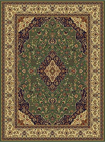 Luxury Silk Area Rugs Green Rug 5x8 Rug Silk Persian Isfahan Style 5x7 Living Room Rugs Bedroom Green Rug (Medium 5