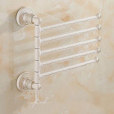 NAERFB Estantería de baño Toalla se Pueden Mover la Varilla Blanco Marfil Pintura Blanca horneada Toallero