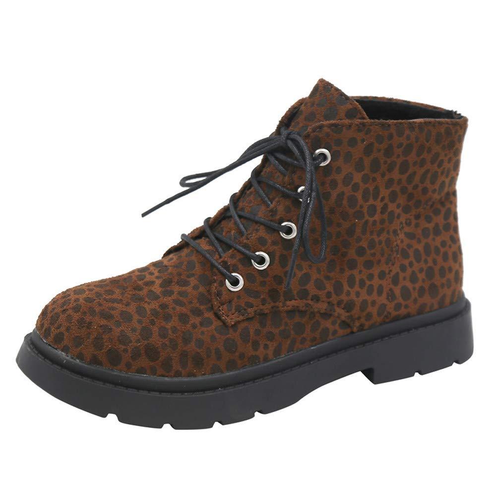 6272f26592a7 JIANGfu Fashion Women Autumn Winter Keep Warm Leopard Print Martain Boot  Ladies Leisure Lace-Up Square Heel Round Toe Casual Shoes  Amazon.co.uk   Shoes   ...