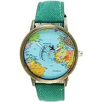 joyliveCY-Moda mujeres hombres vintage tierra mundo mapa Reloj Denim Tela Mu?eca relojes ...