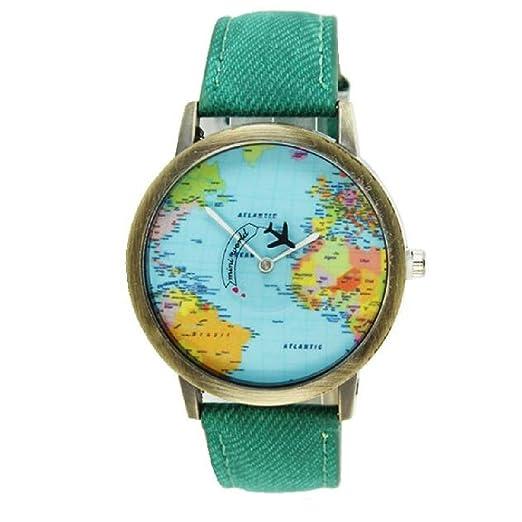 Amazon Com World Map Watch Women Men Denim Fabric Quartz Watch