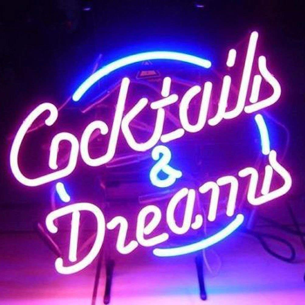 Urby™ Cocktails and Dreams Real Glass Neon Light Sign Home Beer Bar Pub Recreation Room Game Room Windows Garage Wall Sign 18''x14'' A12-05